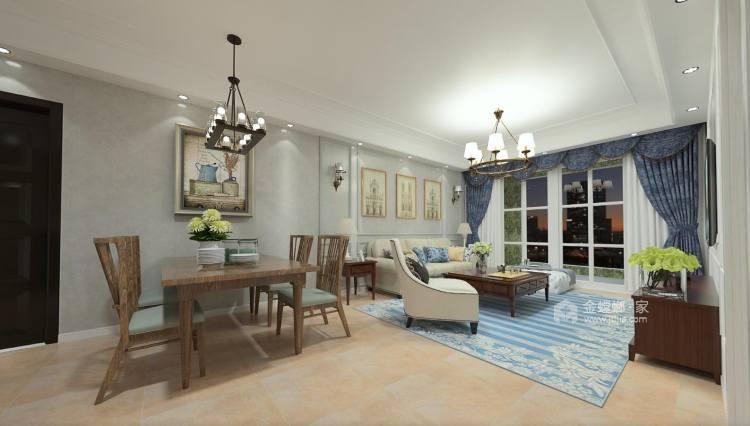 清新自然氛围的美式-客厅效果图及设计说明