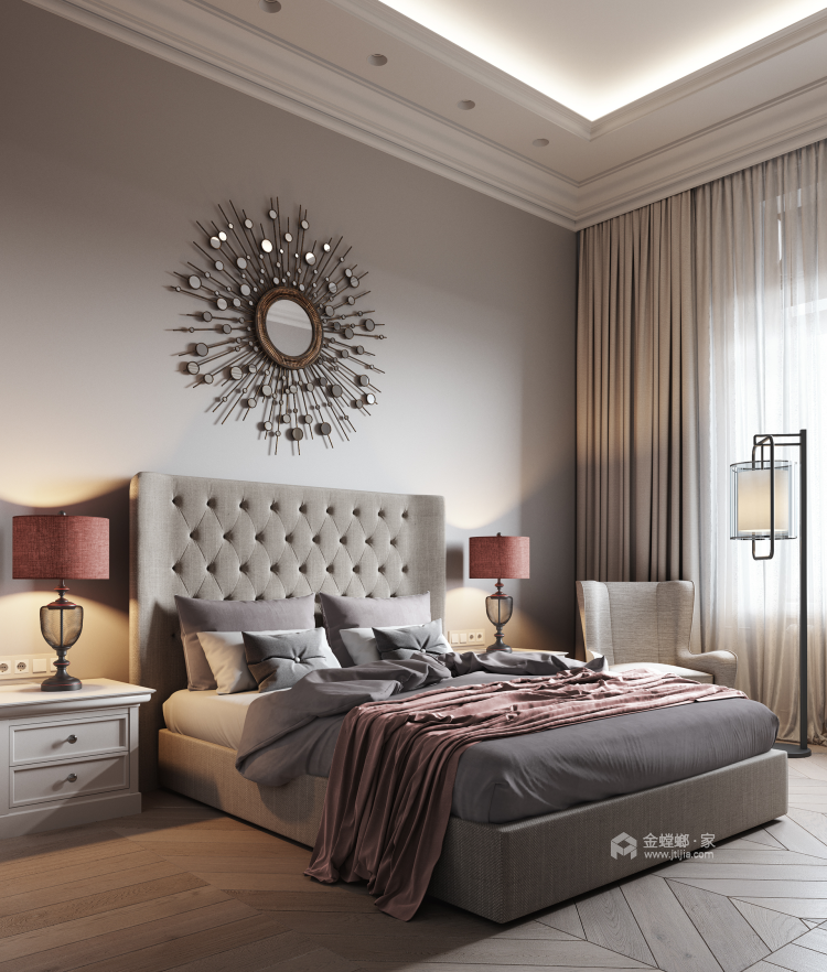 轻奢休闲的北欧风-卧室效果图及设计说明