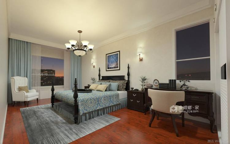 清新自然氛围的美式-卧室效果图及设计说明