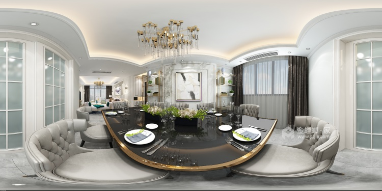 高雅轻奢的现代风-餐厅效果图及设计说明