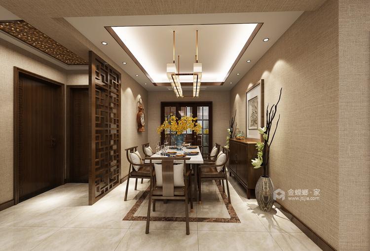 古色古香与现代风融合的新中式-餐厅效果图及设计说明