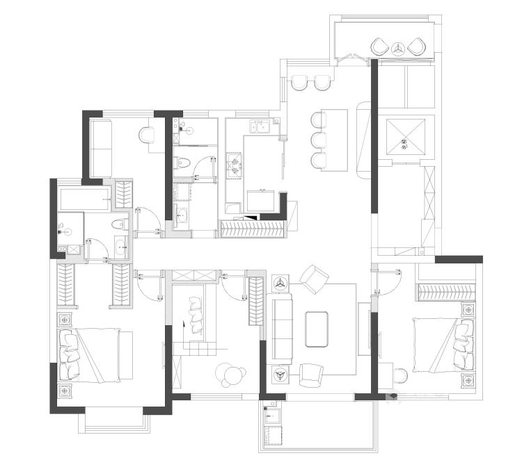 卡座:补充厨房的储物空间-平面设计图及设计说明