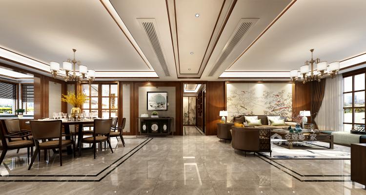 淡雅不失高贵中式的家-客厅效果图及设计说明