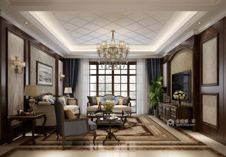 给爸妈装修的浪漫主义欧式风-客厅效果图及设计说明