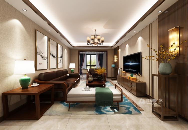 古色古香与现代风融合的新中式-客厅效果图及设计说明