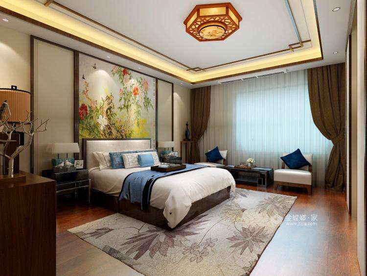 古色古香与现代风融合的新中式-卧室效果图及设计说明