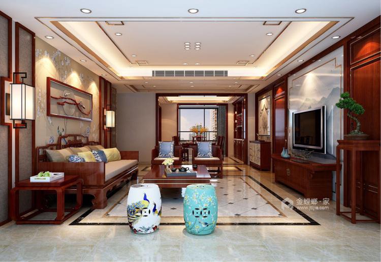 磅礴大气新中式,淡雅如菊-客厅效果图及设计说明