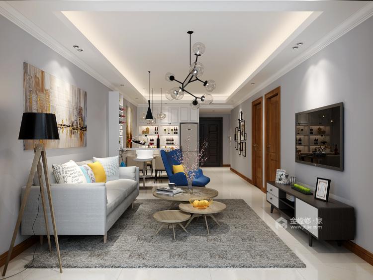 97平简约现代风格,吧台和酒柜演绎生活-客厅效果图及设计说明