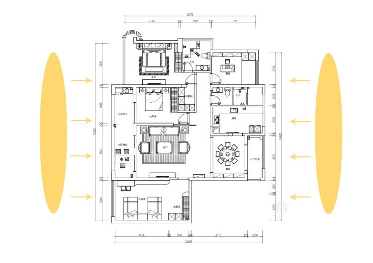 磅礴大气新中式,淡雅如菊-平面设计图及设计说明