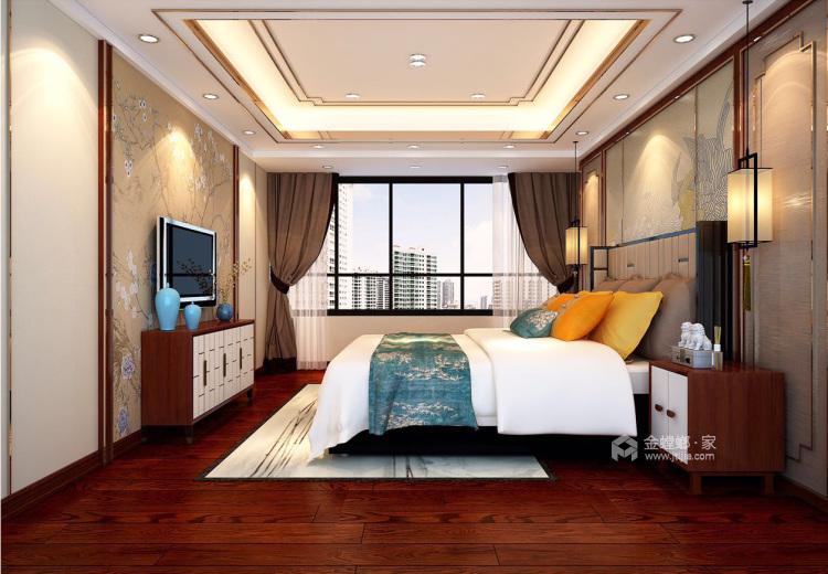 磅礴大气新中式,淡雅如菊-卧室效果图及设计说明