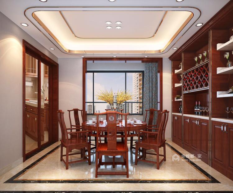磅礴大气新中式,淡雅如菊-餐厅效果图及设计说明