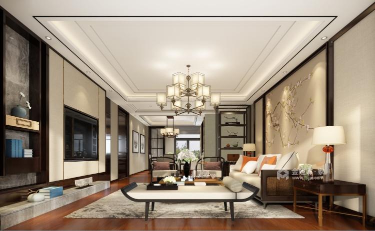 古典与现代交织,189平新中式之美-客厅效果图及设计说明