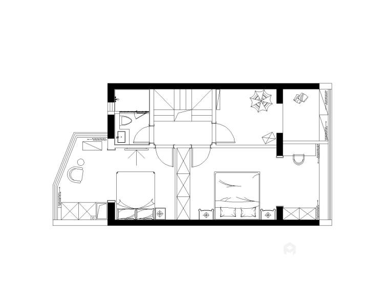 126平优雅静谧美式公寓,简洁大方-平面设计图及设计说明