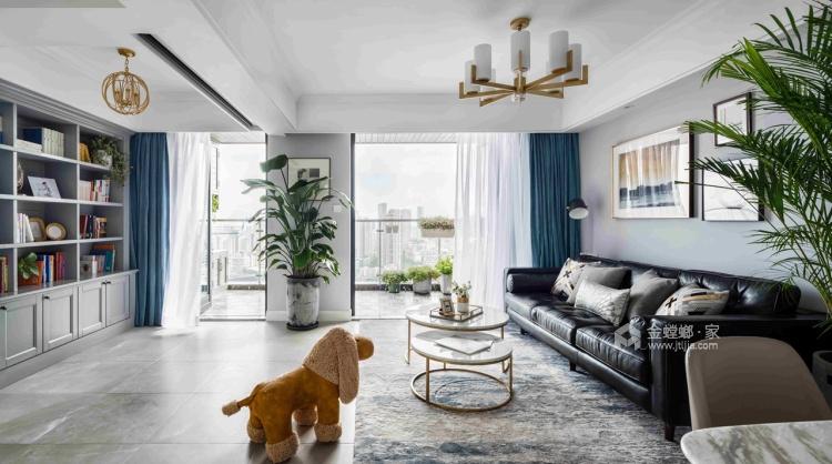 126平优雅静谧美式公寓,简洁大方-客厅效果图及设计说明