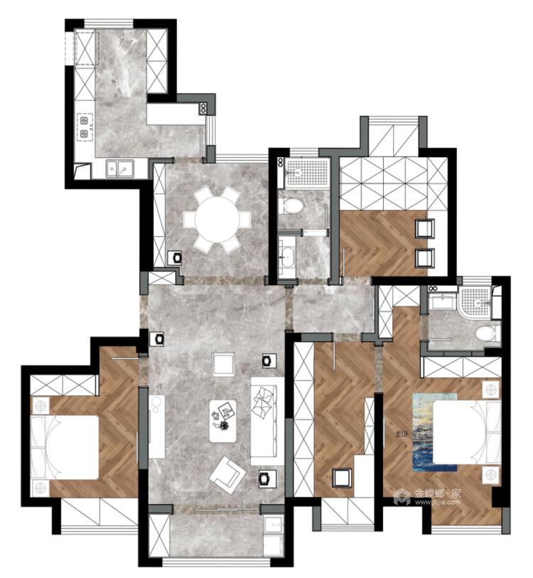 让客人惊艳的中式客厅,就要这样装-平面设计图及设计说明