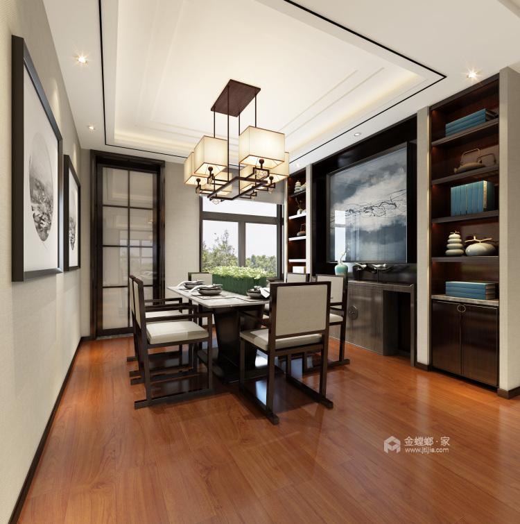 古典与现代交织,189平新中式之美-餐厅效果图及设计说明