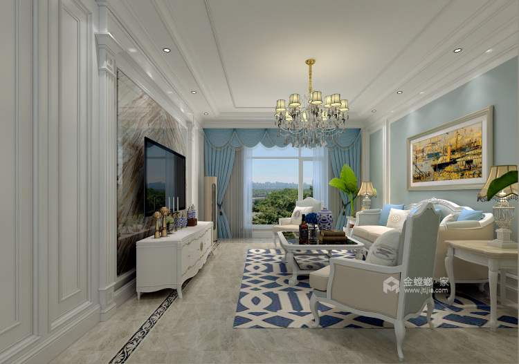 谁说90平做欧式风格不好看?-客厅效果图及设计说明