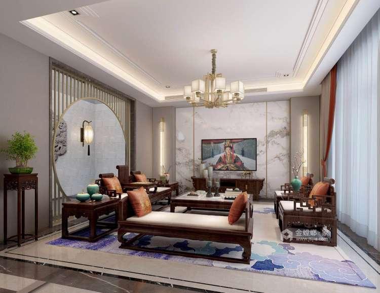 如此雅致的新中式,不由宁身静心-客厅效果图及设计说明