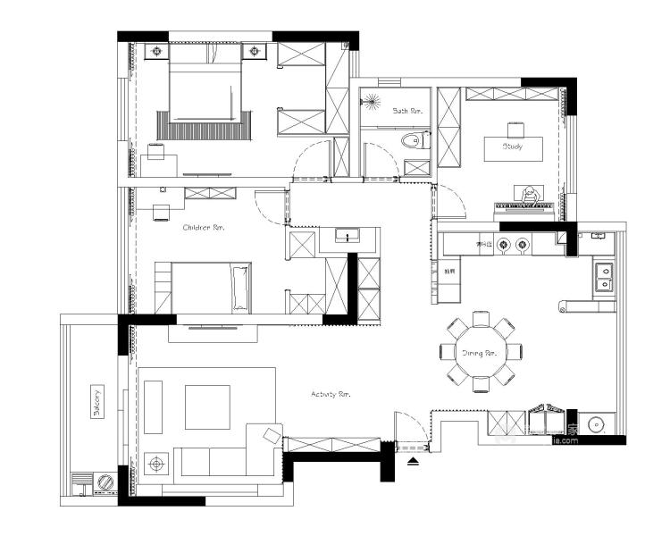 100多㎡ 的家,要如何才能装出自己喜欢的风格-平面设计图及设计说明