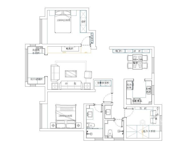 黑胡桃木色为主调的沉稳大气新中式-平面设计图及设计说明