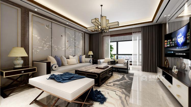 黑胡桃木色为主调的沉稳大气新中式-客厅效果图及设计说明