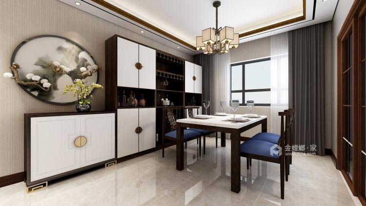 黑胡桃木色为主调的沉稳大气新中式-餐厅效果图及设计说明