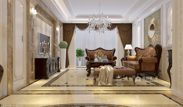 想要古典与高贵并存的家,欧式是最正确的选择-客厅效果图及设计说明