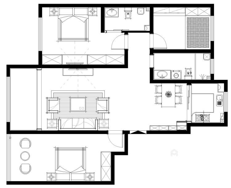 黑白灰的现代风让装修更加简单-平面设计图及设计说明