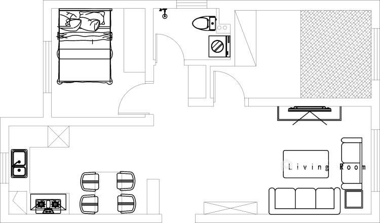 98平米现代黑白灰,勾勒简约气质-平面设计图及设计说明