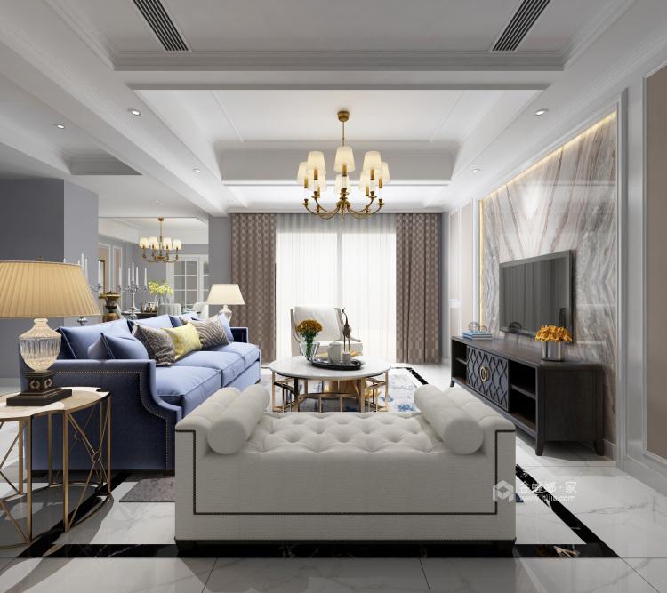 182㎡优雅美式,温馨舒适而不失高级感-客厅效果图及设计说明