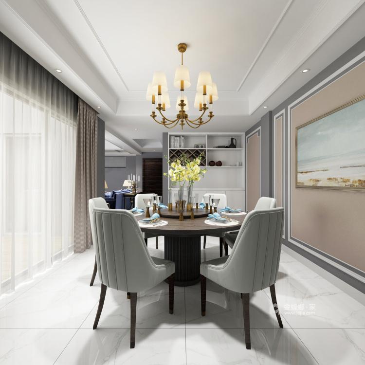 182㎡优雅美式,温馨舒适而不失高级感-餐厅效果图及设计说明