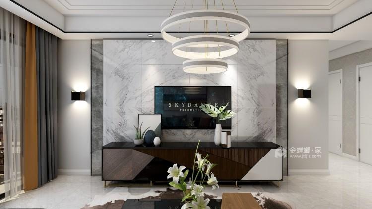 黑白灰的现代风让装修更加简单-客厅效果图及设计说明