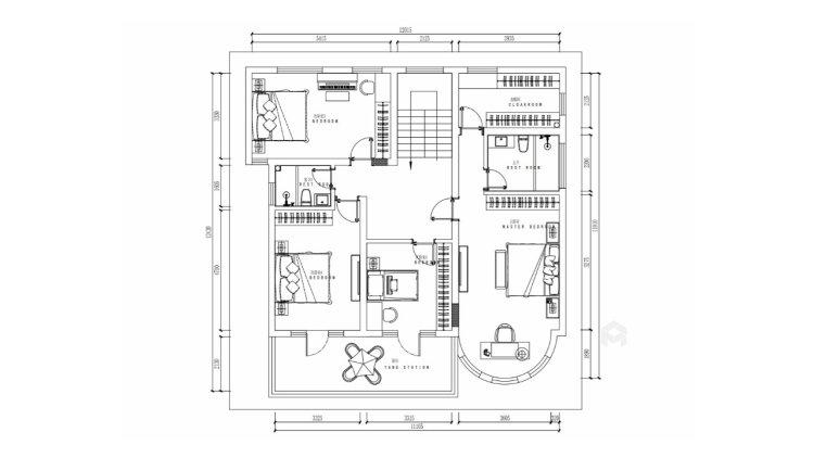 欧式风的交互布局,给两个孩子带来无限生活空间-平面设计图及设计说明