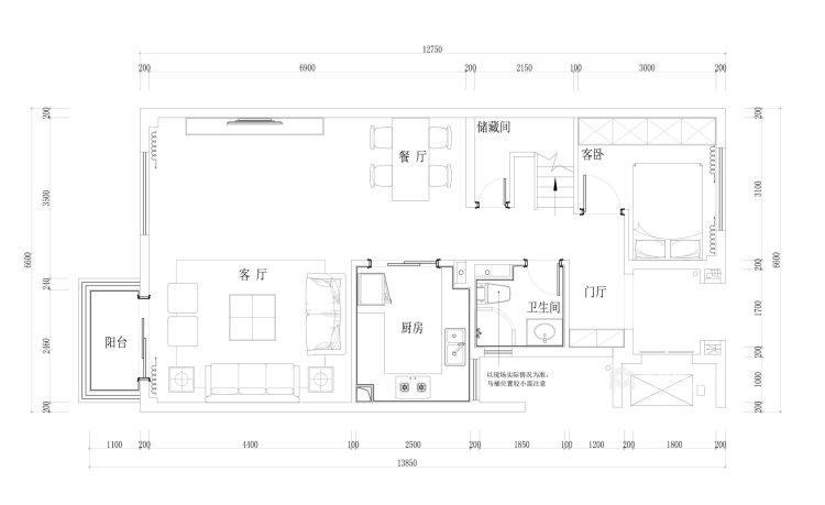 淡淡的咖色给整个空间增添不一样的质感-平面设计图及设计说明