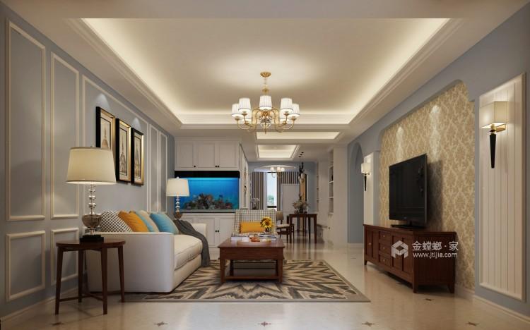 旧房翻新,打造暖意浓浓的美式风-客厅效果图及设计说明