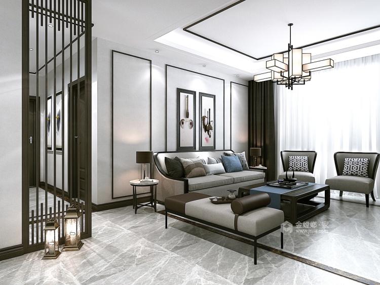 不严肃、不拘谨,134㎡新中式注入新的元素-客厅效果图及设计说明