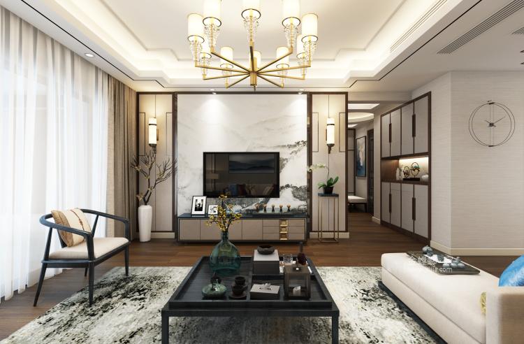 三代同堂四居室,这样的新中式老少皆宜-客厅效果图及设计说明