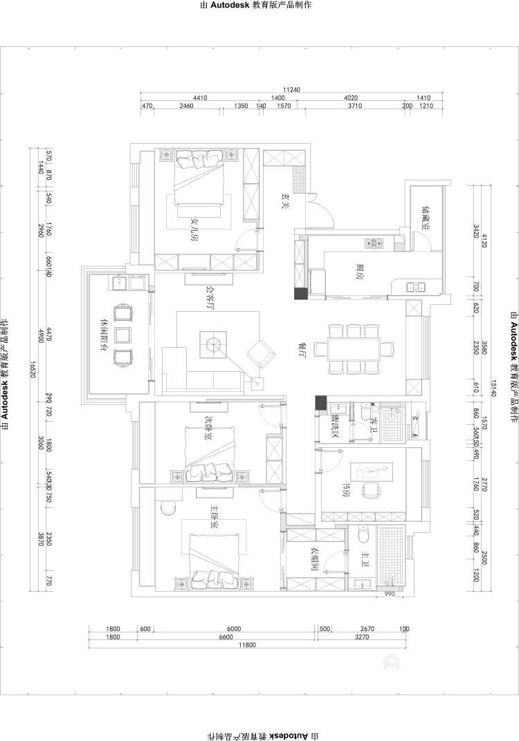 三代同堂四居室,这样的新中式老少皆宜-平面设计图及设计说明