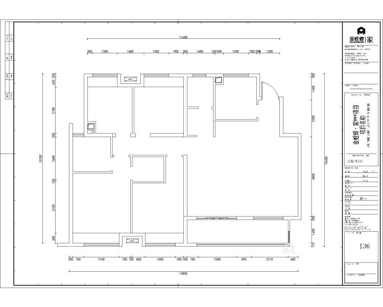 折叠窗+半墙,打造通透开放式书房-业主需求&原始结构图