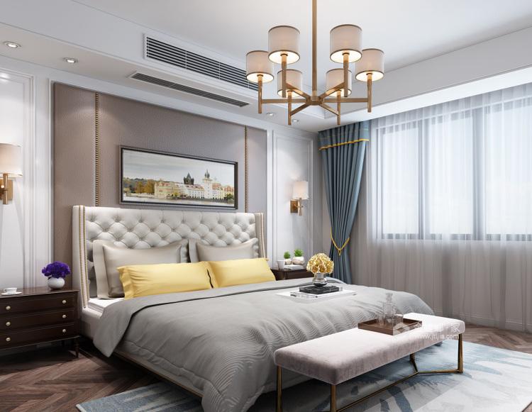 高级灰和绿野仙踪的混搭现代风-卧室效果图及设计说明