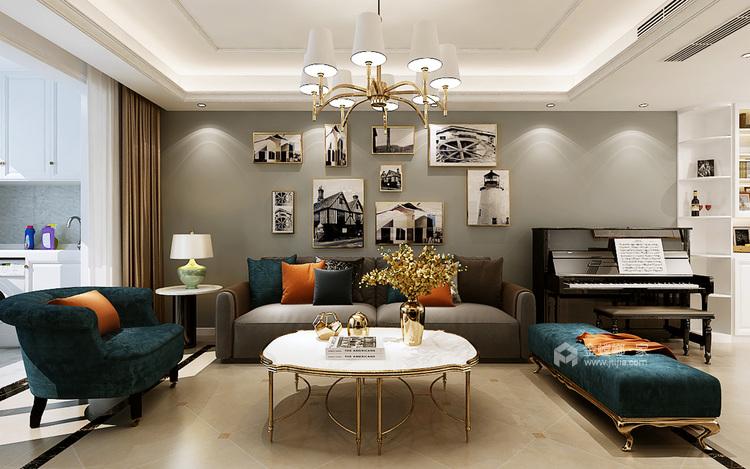 这样装修尽显美式轻奢-客厅效果图及设计说明
