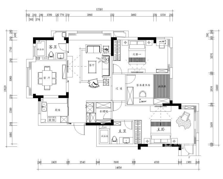 大理石+实木,打造轻快感年轻人的家-平面设计图及设计说明