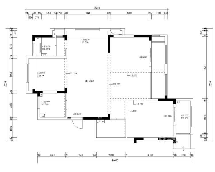 大理石+实木,打造轻快感年轻人的家-业主需求&原始结构图