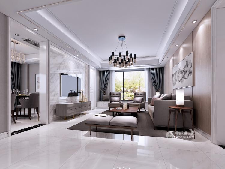 大理石+实木,打造轻快感年轻人的家-客厅效果图及设计说明