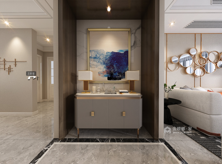 跳跃色彩装点个性化空间-客厅效果图及设计说明