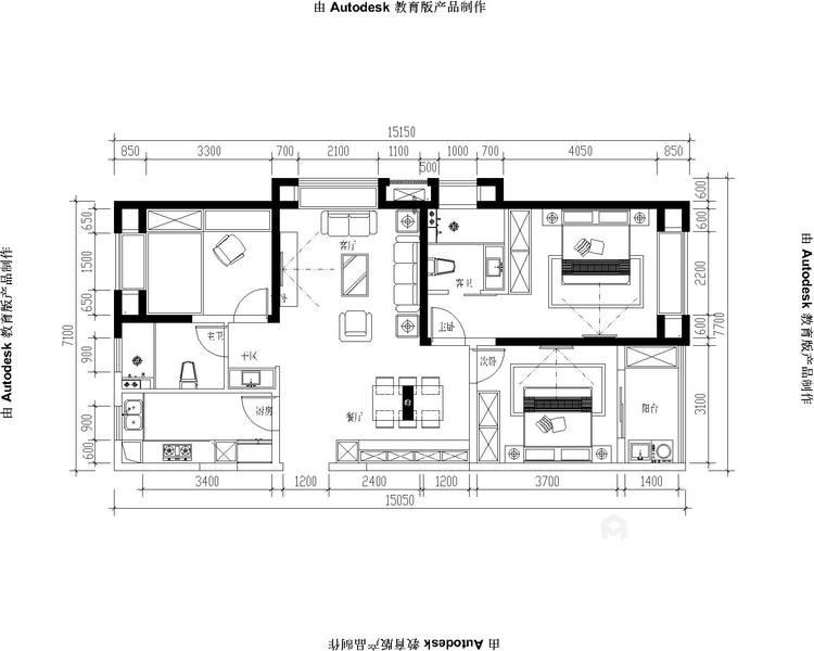 130㎡现代风格,小房间也能做榻榻米-平面设计图及设计说明