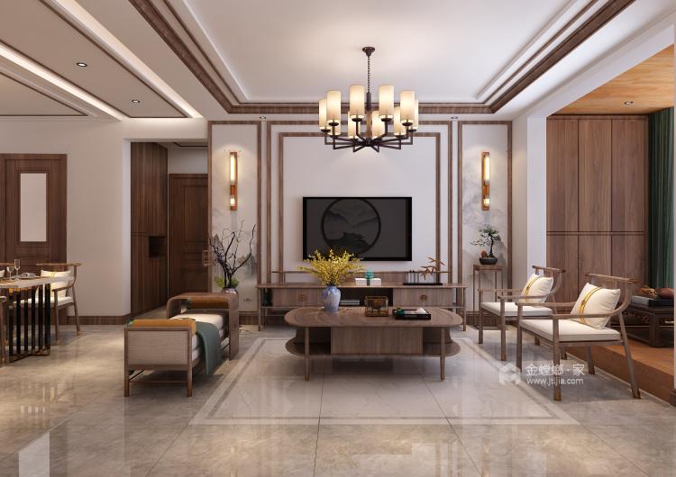 自然触感的原木搭上有中式古典元素,展现东方神韵-客厅效果图及设计说明