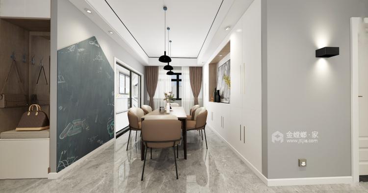 定制柜做电视背景墙,增大收纳效果-餐厅效果图及设计说明