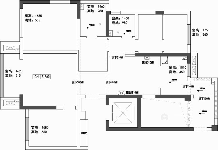 跳跃色彩装点个性化空间-业主需求&原始结构图