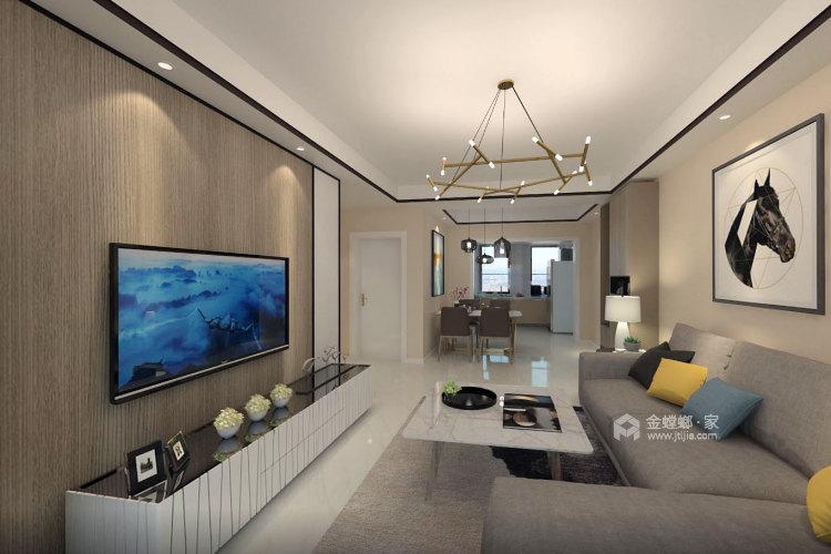 100㎡暖色系空间搭配,温馨十足-客厅效果图及设计说明